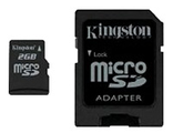 Карта памяти 2Gb MicroSD Kingston + adapter