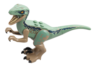 Dinosaur, Raptor / Velociraptor with Sand Green Back Jurassic World Blue, Dark Tan (Raptor09)