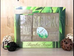 Подарочные бамбуковые полотенца в коробочке 50х90 и 70х140