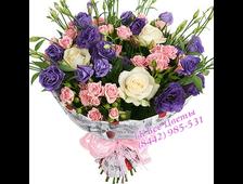 Розы, Эустома и синий Ирис
