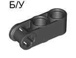 ! Б/У - Technic, Axle and Pin Connector Perpendicular 3L with 2 Pin Holes, Black (42003 / 4173970 / 4200326) - Б/У