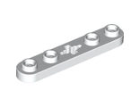 Technic, Plate 1 x 5 with Smooth Ends, 4 Studs and Center Axle Hole, White (32124 / 4527839)