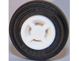 Wheel 8mm D. x 6mm with Slot with Black Tire 14mm D. x 4mm Smooth Small Single with Number Molded on Side  34337 / 59895 , White (34337c01)