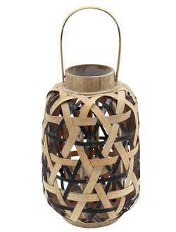 Фонарь - подсвечник LANTERN KOGAWA NATURAL+BLACK D21.5XH33 BAMBOO+IRON арт. 30995