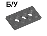 ! Б/У - Technic, Plate 2 x 4 with 3 Holes, Dark Bluish Gray (3709b / 4227398) - Б/У