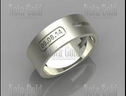 Кольцо из матового белого золота с прорезью и гравировкой даты (вес  8 гр.  Под заказ e61e9801320