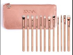 Набор кистей для макияжа глаз Zoeva ROSE GOLDEN COMPLETE EYE SET 12 штук + косметичка