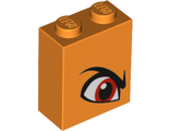 Brick 1 x 2 x 2 with Inside Stud Holder with Angry Red Right Eye and Eyebrow Pattern Queen Watevra Wa'Nabi, Orange (3245cpb097 / 6263143)