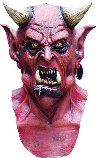 маска, демон, дьявол, сатана, рога, с рогами, рогатый, клыки, красный, на голову, масочка, латекс