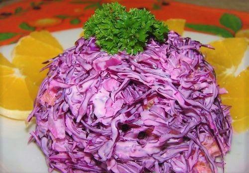 Салаты из красной капусты приготовление