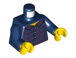 Torso Plaid Button Shirt Front and Back Pattern / Dark Blue Arms / Yellow Hands, Dark Blue (973pb2513c01 / 6155272)
