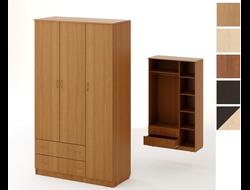 Шкаф распашной  3-х створчатый 2 ящиками (1200x2100x550)