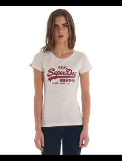 Футболка SuperDry с винтажным логотипом, цвет белый