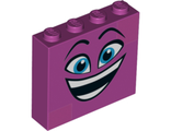 Brick 1 x 4 x 3 with Dark Azure Eyes, Raised Eyebrows, Wide Open Smile and Dark Pink Squares on Two Corners Pattern Queen Watevra WaNabi Face, Magenta (49311pb01 / 6263002)