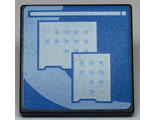 Road Sign 2 x 2 Square with Open O Clip with Light Blue Curved Center Stripe and Small Squares Pattern Computer Screen, Black (15210pb059 / 6296687 / 6323340)
