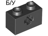 ! Б/У - Technic, Brick 1 x 2 with Axle Hole, Black (32064 / 4114294 / 4233487 / 6178922) - Б/У