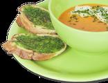 Итальянский холодный суп-пюре из томатов: помидоры, репчатый лук, сливки, пряные травы, подается с чесночными гренками, 250/30 гр