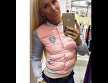 Женская весенняя куртка розово-серая 002-109