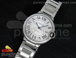 Cartier Ballon Bleu 42mm Steel Braclete White Dial