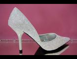 Свадебные белые туфли с розовым переливом высокий каблук острый мыс № 100-12=12