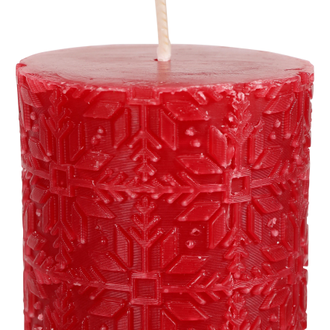 Свеча красная CANDLE SNOWFLAKE NOEL RED D6X7.5CM WAXарт.32224