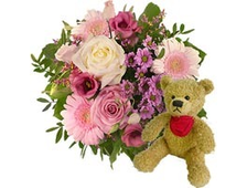Букет из белой розы и розовых цветов в контрасте и плюшевый Мишка