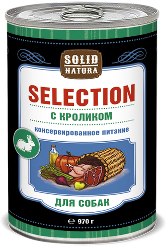 Solid Natura Selection Кролик влажный корм для собак 970 грамм