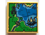 Tile 2 x 2 with Map Ninjago with Pagoda and Ship Pattern, Tan (3068bpb1098 / 6199331)
