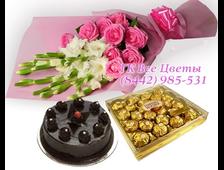 Драгоценный Момент букет из белых Гладиолусов с розовыми розами