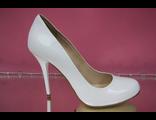 Белые свадебные туфли кожаные классика круглый мыс на высоком каблуке шпилька № 085-А301=А301