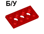 ! Б/У - Technic, Plate 2 x 4 with 3 Holes, Red (3709b / 370921) - Б/У