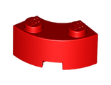 Brick, Round Corner 2 x 2 Macaroni with Stud Notch and Reinforced Underside, Red (85080 / 4567445)