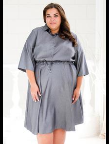 Платье на кулиске Марина-112-14-серый. Размерный ряд: 56-64.