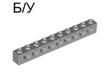 ! Б/У - Technic, Brick 1 x 10 with Holes, Light Bluish Gray (2730 / 4211374) - Б/У