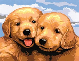 счастливые щенки 30х40