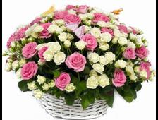 101 розовая роза и белая кустовая роза в корзине