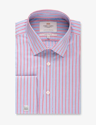 Рубашка Hawes & Curtis Men's Formal Blue & Red Multi Stripe Slim Fit Shirt - Single Cuff - Easy Iron