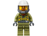 Volcano Explorer - Male Worker, Suit with Harness, Construction Helmet, Breathing Neck Gear with Yellow Airtanks, Trans-Black Visor, Goatee, n/a (cty0685)