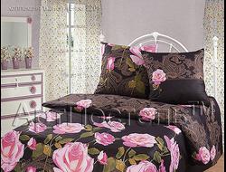 ЧАЙНАЯ РОЗА.  Комплект постельного белья из набивной бязи традиции текстиля, цельнокройное, хлопок 100%