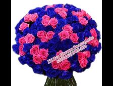 Букет из 101 синей с розовыми розами Нежное Топаз-Алмаз