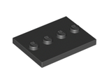 Tile, Modified 3 x 4 with 4 Studs in Center, Black (88646 / 4571146 / 6076678)
