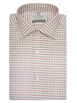 Рубашка HARVIE & HUDSON Navy And Wine Country Check Classic Fit Shirt