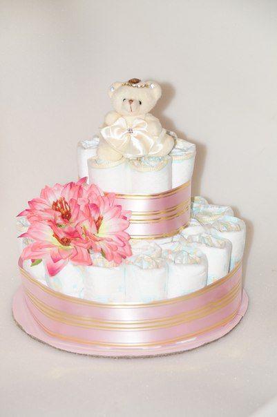 Торт из памперсов для девочки своими руками одноярусный 10