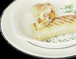 Блинчики с лисичками: блинчики, куриное филе, лисички, сливочный соус, сметана, 220 гр