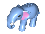 Elephant, Friends with Bright Pink Ears, White Tusks and Bright Light Blue Eyes Pattern, Medium Blue (67419pb01 / 6296712)