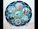 Тарелка сувенирная из цветного стекла