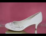 Свадебные туфли белые кожаные маленький устойчивый каблук стразы серебренные купить интернет магазин