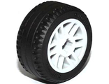 Wheel 14mm D. x 9.9mm with Center Groove, Fake Bolts and 6 Spokes with Black Tire 21 X 9.9  11208 / 11209 , White (11208c01)