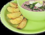 Литовский холодный борщ: свекла, отварное яйцо, огурцы, кефир, зеленый лук, укроп, сметана, запеченный картофель, 250/80 гр