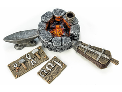 village forge, Furniture tabletop games, A forge for wargame, forge model, blacksmith model